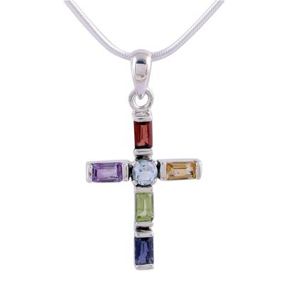Handmade Multigem Cross Sterling Silver Religious Necklace