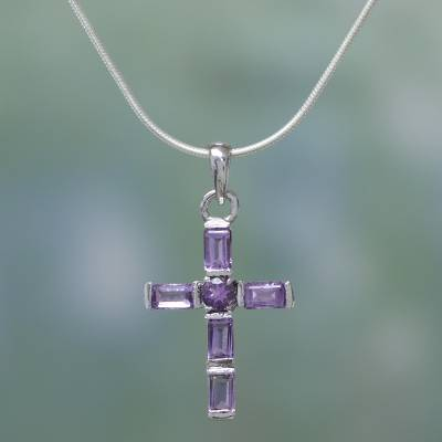 Amethyst cross necklace, 'Lilac Cross' - Amethyst Cross on Sterling Silver Necklace Religious Jewelry