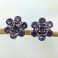 Iolite earrings, 'Cornflowers'