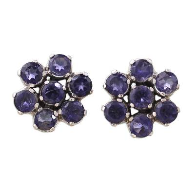Floral Sterling Silver Button Iolite Earrings from India