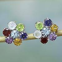 Multi-gemstone button earrings, 'Flowers' - Artisan Multicolored Gem Earrings