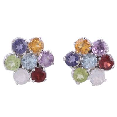 Hand Crafted Floral Sterling Silver Button Multigem Earrings