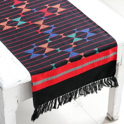 Cotton table runner, 'Colorful Constellations' - Hand-woven Cotton Runner Table Linen from India