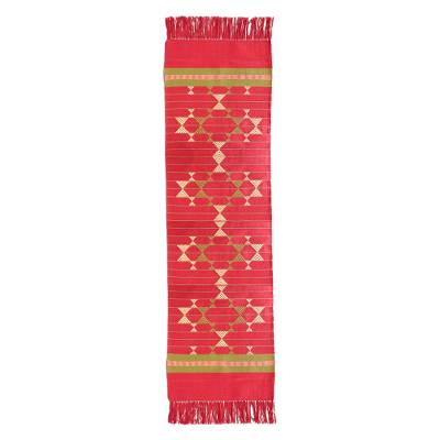 Cotton table runner, 'Wine and Starlight' - Cotton table runner
