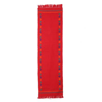 Cotton table runner, 'Festive India' - Handcrafted Cotton Red Runner Table Linen