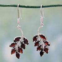Garnet dangle earrings, 'Scarlet Blaze' - Garnet dangle earrings