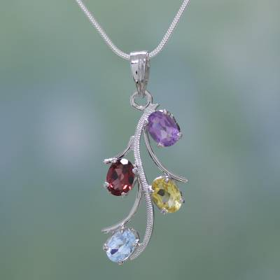 Garnet and citrine floral necklace, 'Summer Promise' - Gemstone Necklace Artisan Silver Jewelry from India