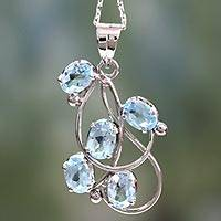 Topaz pendant necklace, 'Blue Quintet' - Topaz pendant necklace