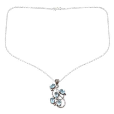 Topaz pendant necklace, 'Blue Quintet' - Topaz pendant necklace