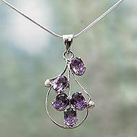Amethyst pendant necklace, 'Assurance' - Amethyst pendant necklace