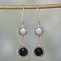 Pearl and onyx dangle earrings, 'Double Charm'