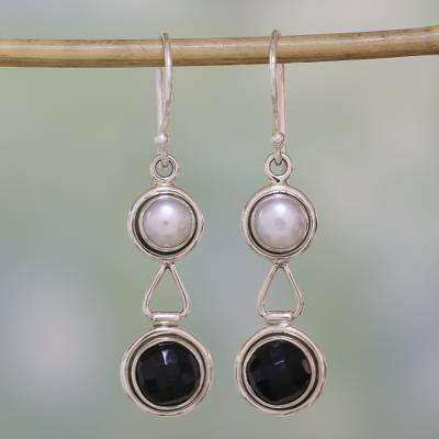 Pearl and onyx dangle earrings, 'Double Charm' - Handcrafted Pearl and Onyx Dangle Earrings