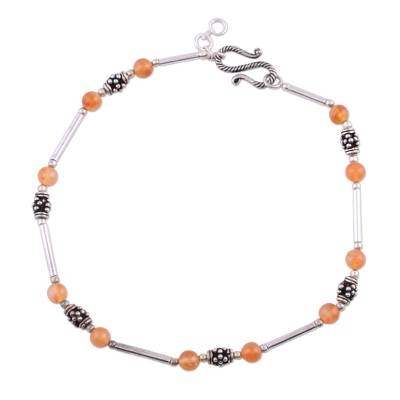 Unique Carnelian Sterling Silver Orange Beaded Anklet