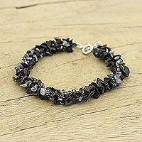 Snowflake obsidian beaded bracelet, 'Frosty Morn' - Beaded Indian Obsidian and Sterling Silver Bracelet