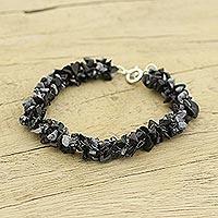 Snowflake obsidian beaded bracelet, 'Frosty Morn' - Hand Crafted Beaded Obsidian Bracelet