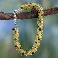 Peridot and tiger's eye beaded bracelet, 'Nature's Majesty' - Hand Crafted Peridot Tiger Eye Bracelet Beaded Jewelry
