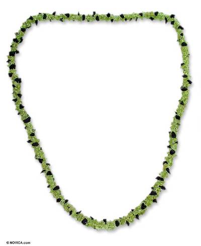 Onyx and Peridot Necklace Handmade Indian Beaded Jewelry