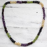 Amethyst and citrine long necklace, 'Flower Garland' - Natural Gemstone Necklace colourful Jewelry