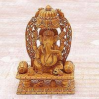 Wood sculpture, 'Ganesha's Blessing II' - Fair Trade Indian Wood Sculpture