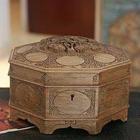 Walnut jewelry box, 'Ecstatic Art Blossom' - Handcrafted Wood jewellery Box