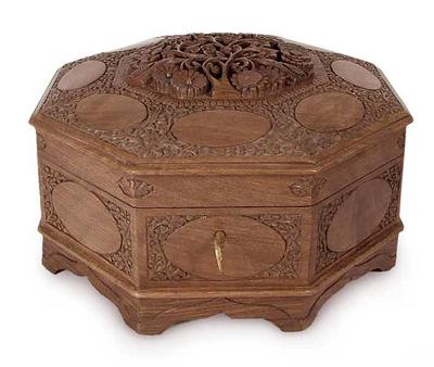 Walnut jewelry box, 'Ecstatic Art Blossom' - Handcrafted Wood jewellery Box