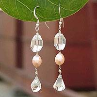Pearl and quartz earrings, 'Fantasy' - Pearl and quartz earrings