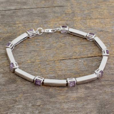 Amethyst tennis bracelet, 'Current' - Amethyst tennis bracelet