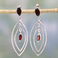 Garnet earrings, 'Vivacious'
