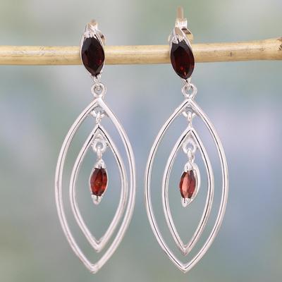 Garnet earrings, 'Vivacious' - Garnet earrings