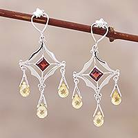 Citrine and garnet chandelier earrings, 'Glamorous' - Citrine and garnet chandelier earrings
