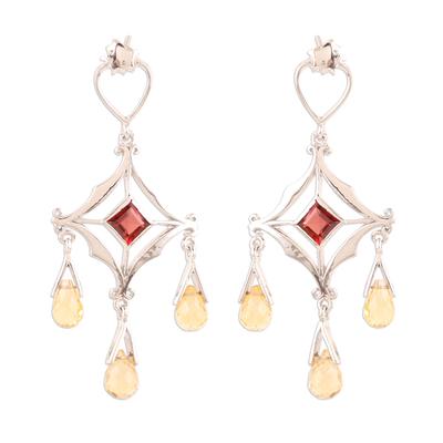 Citrine and garnet chandelier earrings