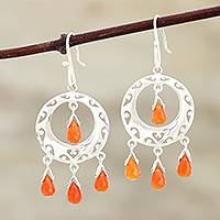 Carnelian earrings, 'Sunfire'