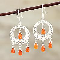 Carnelian earrings, 'Sunfire'