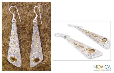 Citrine dangle earrings, 'Art Deco' - Citrine dangle earrings