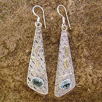 Blue topaz earrings, 'Art Deco' - Sterling Silver and Blue Topaz Earrings from India Jewelry