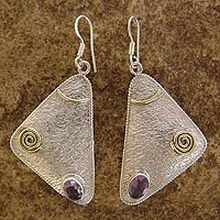 Amethyst dangle earrings, 'Desire' - Amethyst dangle earrings