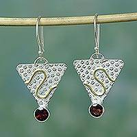 Garnet earrings, 'Golden Serpent' - Handmade Modern Sterling Silver Garnet Indian Earrings