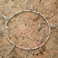 Sterling silver anklet, 'Spring Leaves' - Fair Trade Sterling Silver Charm Anklet