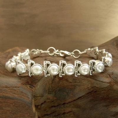 Pearl tennis bracelet, 'Pure Chic' - Women's jewellery Bridal Sterling Silver Pearl Bracelet