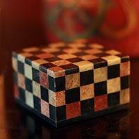 Soapstone jewelry box, 'Checkmate' (medium) - Checkered Soapstone Jewelry Box (Medium)