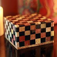 Soapstone jewelry box, 'Checkmate' (large) - Fair Trade Marble Inlay jewellery Box (Large)