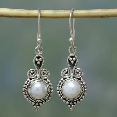 Pearl earrings, 'Clouds of Desire' - Pearl Earrings Sterling Silver Handmade Indian Jewelry