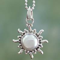 Pearl pendant necklace, 'Quiet Sun' - Sun Sterling Silver Pendant with Chain