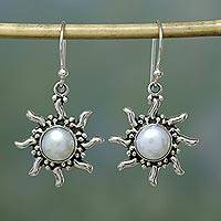 Pearl earrings, 'Quiet Sun' - Sterling Silver Moon and Sun Earrings