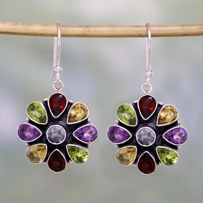 Amethyst and garnet flower earrings, 'Summer Blossoms' - Amethyst Garnet Earrings Blue Topaz Sterling Silver Jewelry