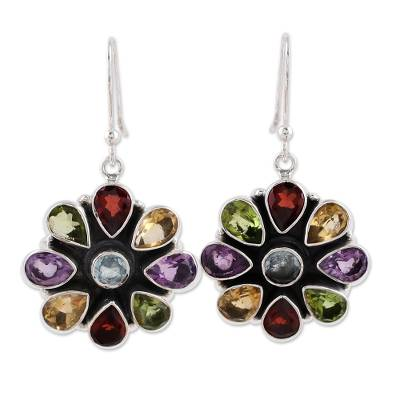 Amethyst and garnet flower earrings, 'Summer Blossoms' - Amethyst Garnet Earrings Blue Topaz Sterling Silver Jewelry