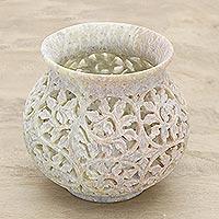 Soapstone jar, 'Ivy Vine' - Soapstone jar