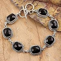 Onyx link bracelet, 'Dark Enchantment' - Sterling Silver and Onyx Link Bracelet