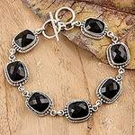 Sterling Silver and Onyx Link Bracelet, 'Enchantment'