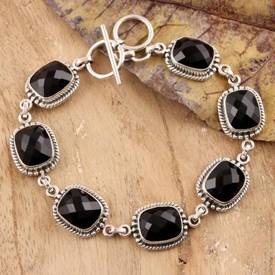Onyx link bracelet, 'Dark Enchantment' - Sterling Silver and Onyx Link Bracelet